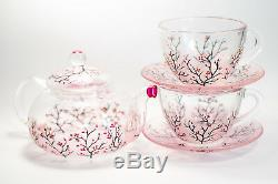 Tea Set Teapot with 2 Cups and Saucers Glass Pink Cherry Blossom Personalized