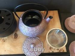 Teavana Japanese Cherry Cast Iron Tea Pot with Infuser 5 Glaa Cups & Saucers
