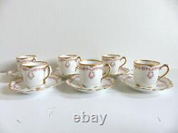 Theodore Haviland Set Of 6 Antique Limoges Pink Roses Cup Saucer Schleiger 319