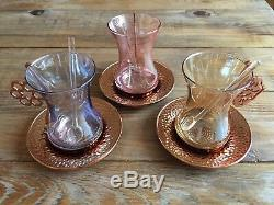 Turkish Tea Set (of 6) Glass Cups, Copper Tray & Round Saucers & Holder Palace