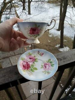 ULTRA RARE Royal Albert Teacup and Saucer Footed Blue Trim Cabbage Rose
