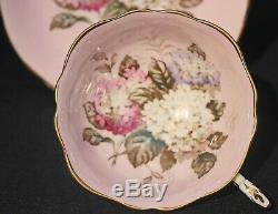 VINTAGE PARAGON With HYDRANGEA BOUQUET WIDE CUP SAUCER DOUBLE WARRANT PINK