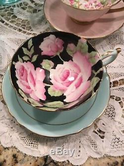 VTG 1930's AQUA & Large PINK ROSES Cup & Saucer PARAGON Double Warrant English
