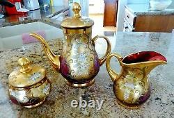 VTG CZECH BOHEMIAN Gold Cranberry Glass Tea Set 2 Cup Saucers Sugar Cream & Pot