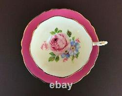 VTG Paragon Mary & Queen Large Cabbage Rose Pink Footed Tea Cup Saucer Gold Trim