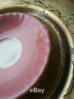 VTG RARE AYNSLEY. 4 Large Pink Cabbage Roses. Pink Tea Cup & Ribbed Saucer. EUC