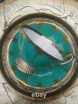 VTG UNIQUE 1950s Royal Albert ART DECO Turquoise & Gold Tea Cup and Saucer. EXC