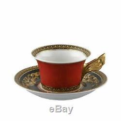 Versace Rosenthal Ikarus Medusa Red Tea Cup with Saucer, set 6 Pcs Elegant Box
