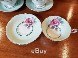 ViNTage PaRaGOn CaBbAGe RoSe Mint GrEEn TeA cUp and SaUCer Set of 6