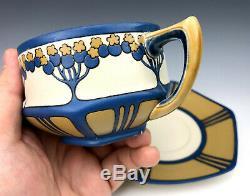 Villeroy & Boch Mettlach Germany Porcelain Elderberry Teacup & Saucer Set 1907