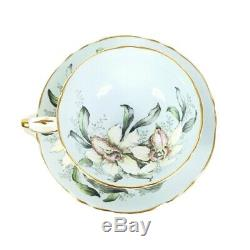 Vintage 1950s Paragon Floating White Orchids on Pale Blue Tea Cup and Saucer
