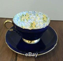 Vintage Antique Shelley Tea Cup and Saucer Cobalt Primrose Chintz China England