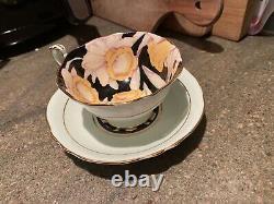 Vintage Art Deco Paragon Tea Cup Saucer Rare Daffodils Mint Green Collectible