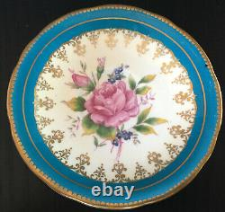 Vintage Aynsley Blue Tea Cup And Saucer Set With Large Pink Floating Rose
