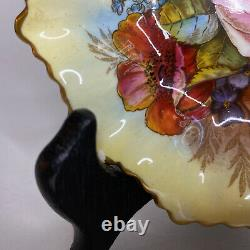 Vintage Aynsley Bone China Sweet Meats Pickle Plate JA Bailey Cabbage Rose Gold