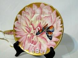 Vintage Aynsley Butterfly Chrysanthemum Tea Cup & Saucer Pink / Gold Bone China