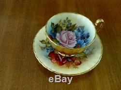Vintage Aynsley Cup & Saucer Cabbage Rose Floral /Gold Teacup -Signed J A Bailey