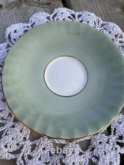 Vintage Aynsley, England ORCHARD FRUIT Sage Green Cup & Saucer D Jones Signed