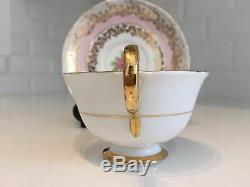 Vintage China Tea Cup & Saucer HARLEQUIN Pink Blue Gold Chintz Rose Gilt AYNSLEY