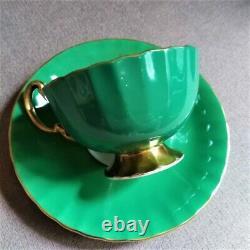 Vintage Green Aynsley Orban Three Cabbage Roses England Teacup & Saucer