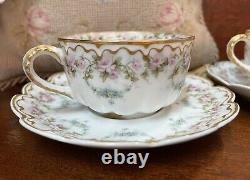 Vintage Haviland Limoges Cup And Saucer Pink Roses GOLD Trim & Blue Swags BOGO