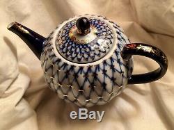 Vintage Lomonosov Russian Blue Cobalt Tea Set 19 pc, Bonus cup+serving dish too