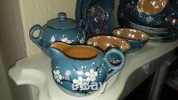 Vintage Lustreware Rising Sun Japan Blue With Cherry Blossoms Tea Set 23 Pcs EC