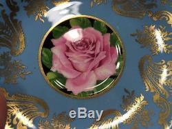 Vintage PARAGON Large Cabbage Rose Bone China Tea Cup & Saucer Light Blue Gold