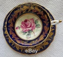 Vintage PARAGON PINK CABBAGE ROSE COBALT BLUE and GOLD TEA CUP and SAUCER