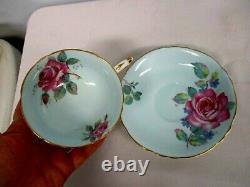 Vintage Paragon Blue Cabbage Rose Tea Cup & Saucer Excellent Condition