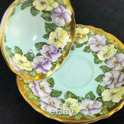 Vintage Paragon England Heavy Gold PANSY Garland PERFECT Cup Saucer A1585