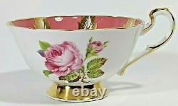 Vintage Paragon Pink Cup & Saucer, Cabbage Rose, Rose Panels, Gold Gilt & Trims