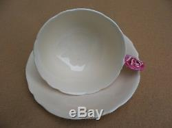 Vintage Paragon Rose Handle Bone China Tea Cup Saucer Pastel Beige Mint Green