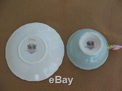 Vintage Paragon Rose Handle Tea Cup Saucer Bone China Mint Green Pale Pink