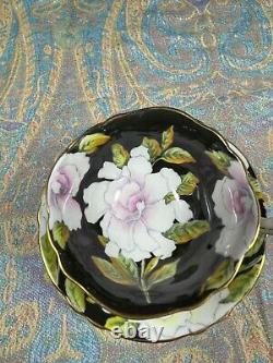 Vintage Paragon Tea Cup & Saucer Floating Gardenia On Black Mismatch Dbl Warrart
