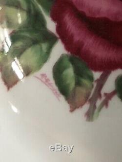 Vintage Paragon Tea Cup Saucer Red Cabbage Rose Robins Egg Blue Signed R Johnson