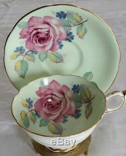 Vintage Paragon Teacup Saucer Large Cabbage Rose Pale Green Footed Scalloped