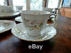 Vintage Royal Albert Haworth 21pc Tea Set Cup Saucer Plate Milk Jug Sugar Bowl