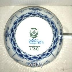 Vintage Royal Copenhagen Blue Fluted Full Lace Flat Cup Saucer 1130 1st Quality