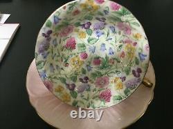 Vintage SHELLEY FINE BONE CHINA England COUNTRYSIDE Pink Tea Cup & Saucer