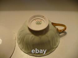 Vintage Shelley Fine Bone China England Oleander Green Chintz Teacup & Saucer
