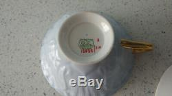 Vintage Shelley Oleander Primrose Blue Chintz Trio, Cup Saucer & 6 Plate