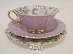 Vintage Shelley Oleander Summer Glory Trio Tea Cup, Saucer & Plate Lavender Gold