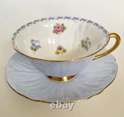 Vintage Shelley Oleander Teacup & Saucer Blue England #413528 Multi-Color Flower