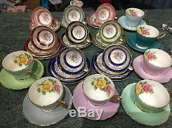Vintage Tea Cups & Saucers x 10 Duos And 4 Trios Cabbage Rose, Grafton Job Lot