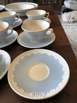 Vintage Wedgwood Albion Corinthian Blue 8 Coffee/Tea Cups and 9 Saucers