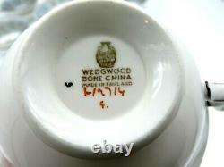 Vintage Wedgwood Florentine Blue Bone China Tea Cup and Saucer Set of 8