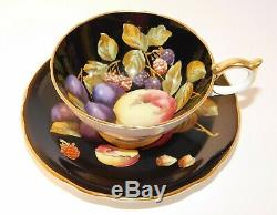 Vtg. Aynsley Black Orchard Fruit Tea Cup and Saucer Gold Trim C1174 RARE