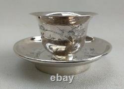 Vtg Early 20C Chinese Export Solid Silver Tea Bowl Cup & Dish Tray Crane & Tree