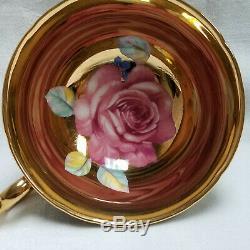 Vtg Paragon Cabbage Rose Gold On Black Tea Cup & Saucer Bone China #1